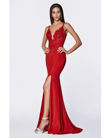 Fitted Lace Bodice Gown with Deep Plunging Neckline, Open Back & Leg Slit, No Matter Your Occasion in this Elegant Dress you'll Feel Flawless & Confident