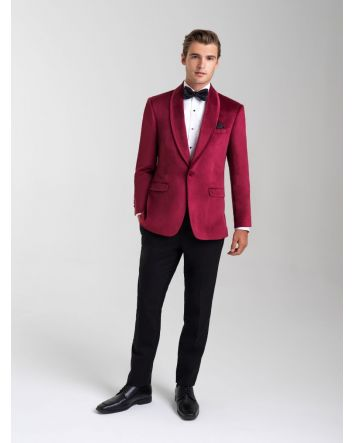 Ruby Red Velvet Jacket Shawl Lapel Allure Men Gift Set: Jacket, Bow-Tie /Pocket Square & Microfiber Fitted Dress Shirt w/ Cufflinks & Stud Set
