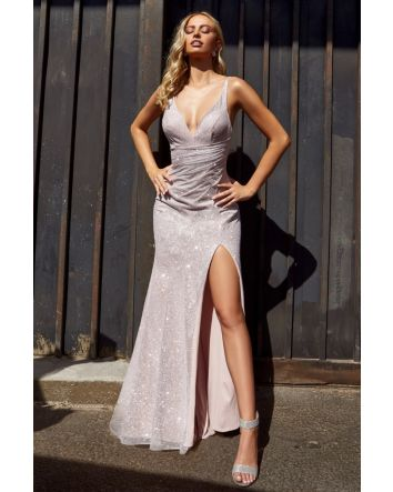 Blush Sexy Fitted Gown with Diamond Dust finish and leg slit feel Flawless and Confident No matter your occasion