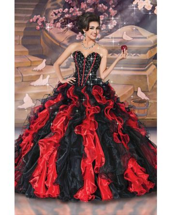 Inspired by the compassionate nature and grace of Snow White, this stunning gown makes a graceful yet dramatic statement.  Magical Details:  Snow White Dress Style: 41071  Color: Black/Red Size: 8 Corset Back  Fabric: Organza, Taffeta, Tulle.