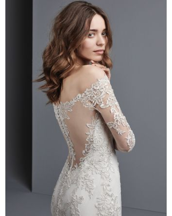 Sottero & Midgley Off-the-Shoulder Wedding Dress Beaded Lace Appliqués & Swarovski Crystals with Long Sleeves