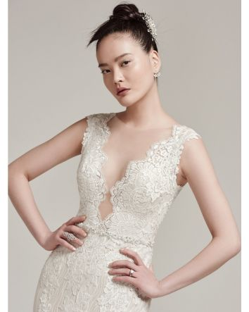 Wyatt by Sottero & Midgley Modern Lace Wedding Dress Plunging illusion Neckline with Lace Cap-Sleeves, Beaded belt Attached & Pearl Buttons over Zipper Closure