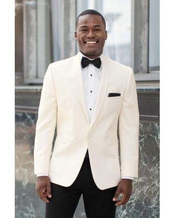 Ivory Classic Dinner Jacket Shawl Lapel Gift Set: Coat, Bow-Tie with Pocket Square & Microfiber Fitted Shirt with Cufflinks & Stud Set