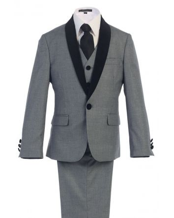 Boy's Designer Gray Suit 1 Button Shawl Black Satin Lapel w/ Two-toned Flower Gold Leaf Gray Lapel Pin