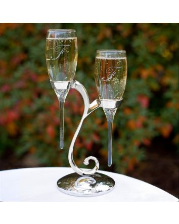 Raindrop Flutes with Swirl Stand Personalized or Blank Flute Set