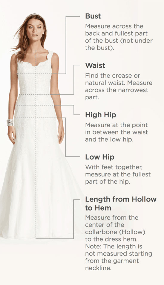 Debbie's Bridal Find Your Size & Measurement Tips